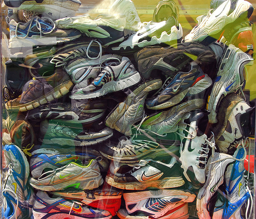 Nike Sneaker pileup recycle photo