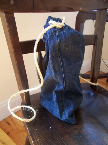 upcycled drawstring bag diy project