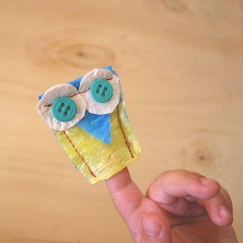 upcycled plastic owl puppet