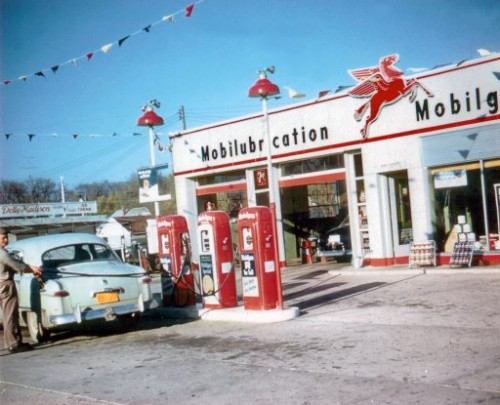 A 1950 eara American gas station