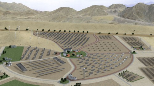 Artist concept of the Timna Renewable Evergy Park