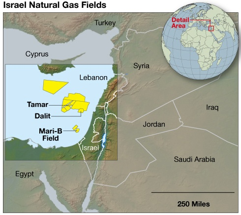 natural gas fields off israel coast