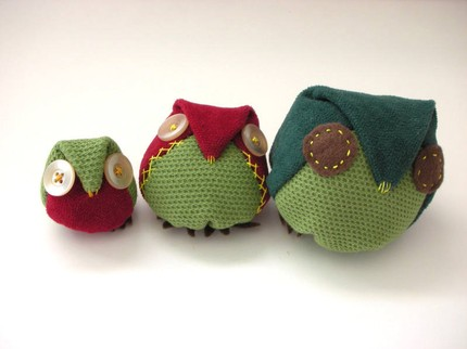 toy owl dolls recycled cloth materia's