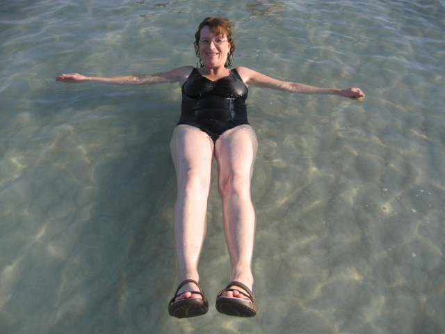 Charlene Harden on vacation in Israel floats at the Dead Sea photo