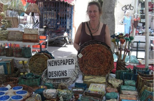 "Tel Aviv's Artists' Market Offers Good Green ""News"" On Desy's Newspaper Designs"