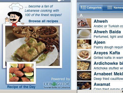 100 Lebanese recipes on an iPhone