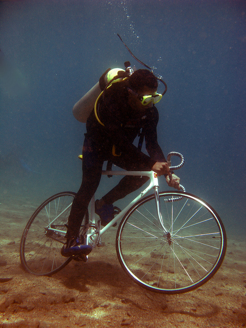 Egyptian Man Takes Biking To A Whole New Level… Under Water