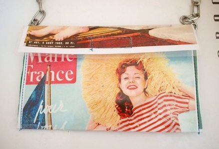 """vintage magazine upcycled purse"""