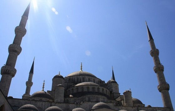 blue mosque turkey sun