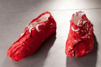"""plastic bag shoes"""
