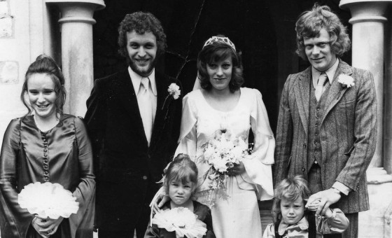 70s church wedding, family green wedding