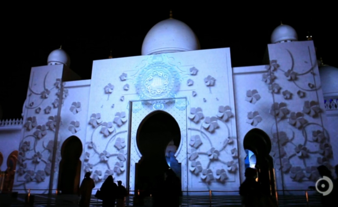 Augmented Reality Projected on Mosque is Fireworks Alternative