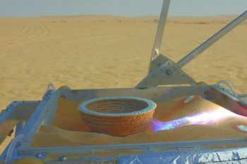 First object printed from a 3D file with the Solar Sinter, Photo by Amos Field