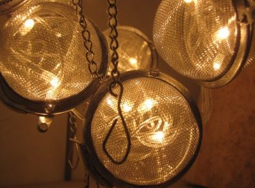 Recycled Tea Strainer Lamp Creates Soothing Glow