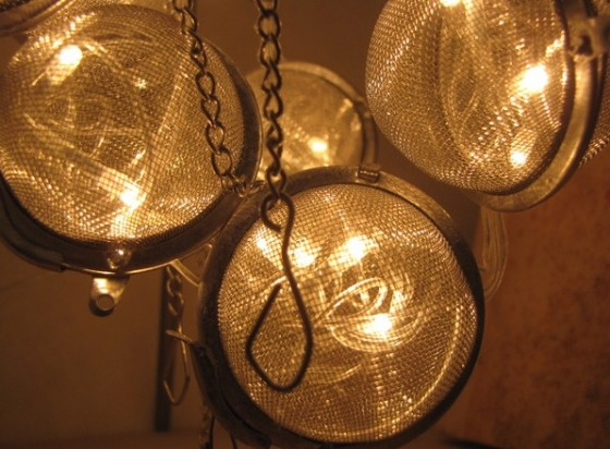 """tea strainer upcycled lamp"""
