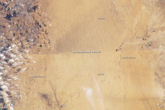 A clearly visible line marks 50 kilometers of the international border between Egypt and Israel