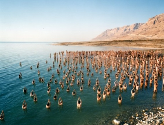 naked israelis, photography, art, Spencer Tunick, Dead Sea, environmental awareness,