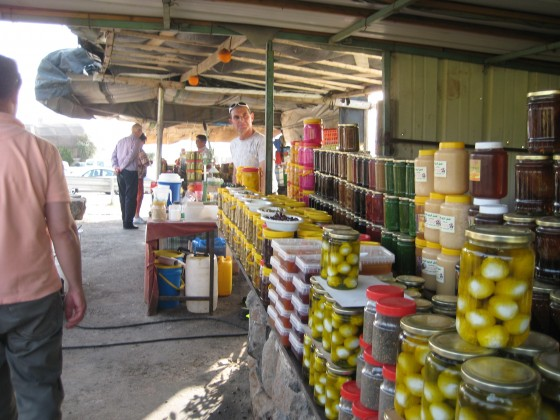 Druze local produce for sale at Sa'ar Stream waterfall