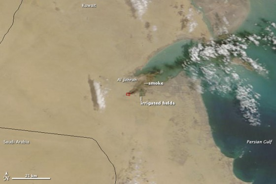 kuwait tire fire from space