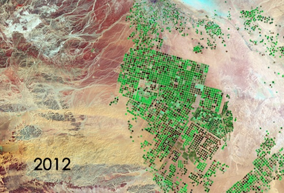 water waste, NASA, water conservation, agriculture, land grabs, saudi arabia desert