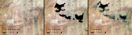 lake shrinking in Toshka Egypt