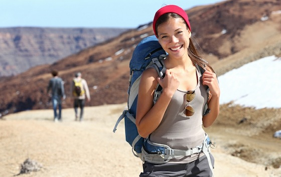 backpacker cute woman mountains
