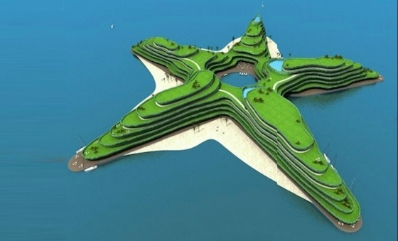 rising seas, global warming, climate change, Greenstar Hotel, Waterstudio.NL, floating islands