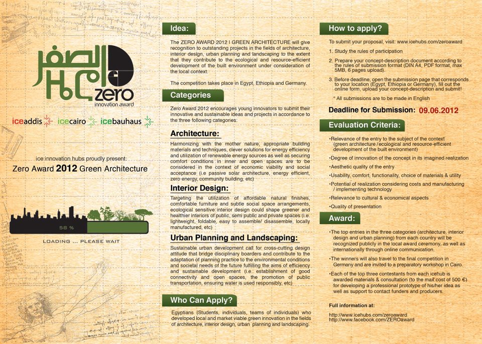 green design, urban planning, Egypt, landscape design, architecture, ZERO Awards 2012, incubator