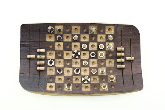 wine barrel, recycled wood, craft, chess board