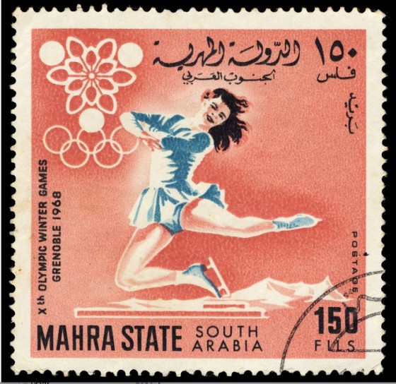 arab saudi arabia stamp 1968 olympics woman skating