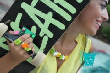 recycled materials, fashion, repurposed design, LEGO, jewelry, food jewelry, Lebanon
