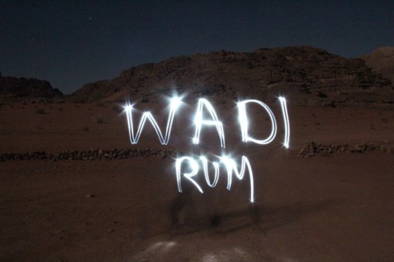 wadi rum light graffiti
