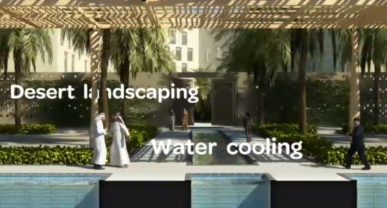 abu dhabi, water cooling, desert landscape, sustainable city