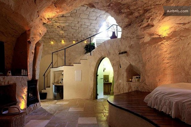 cave, architecture, Airbnb, Columbarium, Israel, natural materials,