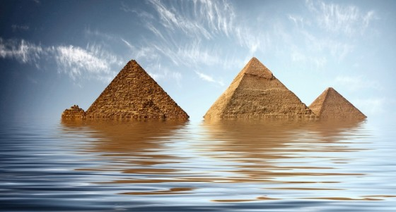 pyramids flooded under water global warming