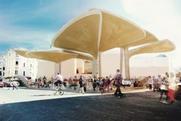 Leaf-Shaped Market Square Filters Rainwater and Trash in Morocco