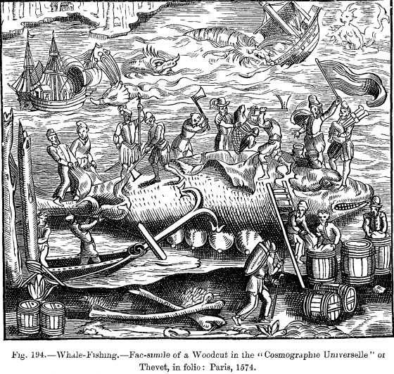 Whale Fishing Woodcut Cosmographie Universelle of Thevet folio Paris 1574