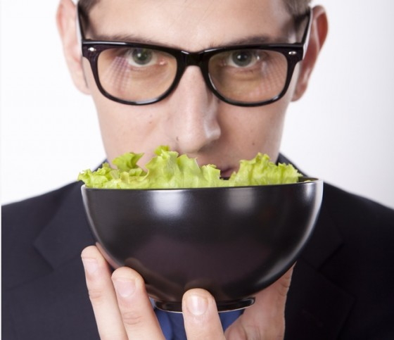 salad model man wearing glasses