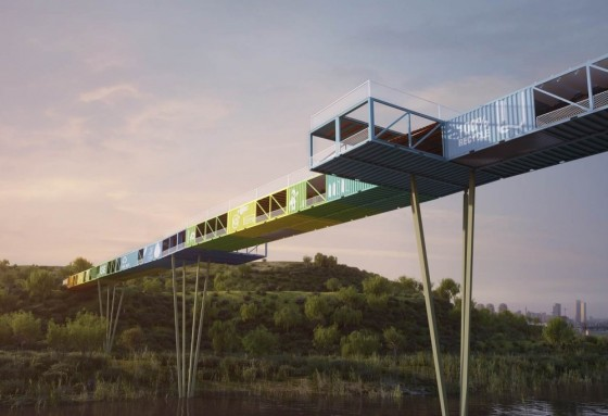 ecotainer green design, urban design, brownfield rehabilitation, urban reclamation, tel aviv, yoav messer architects, recycled shipping containers, bridge, sustainable architecture, israel
