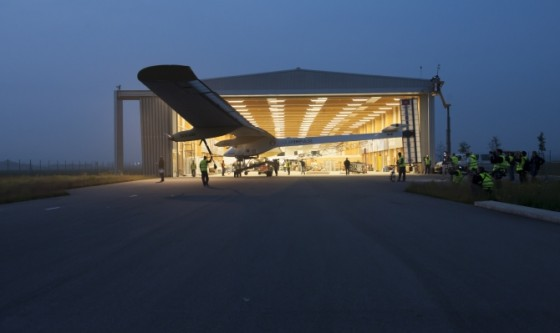 solar impulse plane in hangar