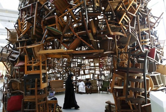 Tadashi Kawamata, Chairs for Abu Dhabi, recycled materials, eco art, green design,