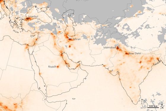 nasa middle east pollution maps