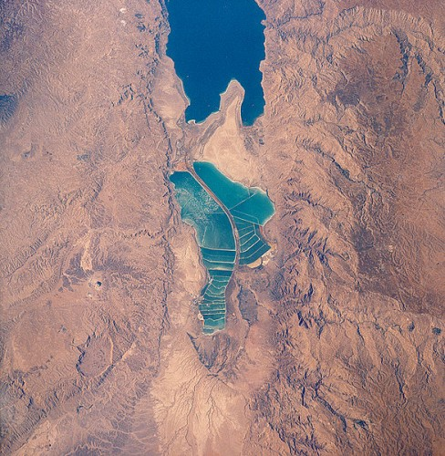 Divided Dead-Sea areal arial view