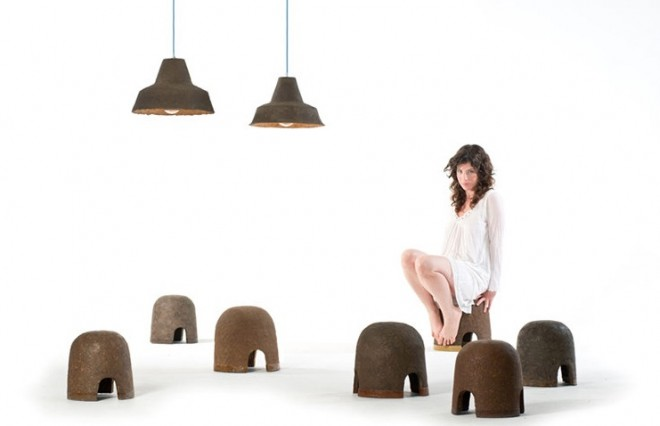 Adital Ela's Terra stools and lamps are foot-stomped furniture that composts