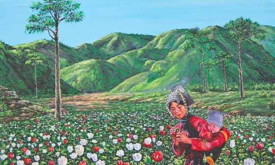 opium field woman with baby poppies, poppy