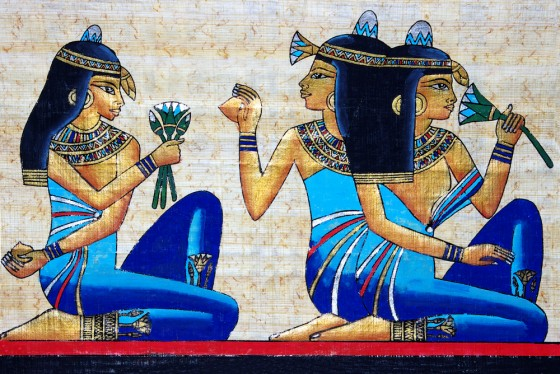 Egyptian women with lotus flowers