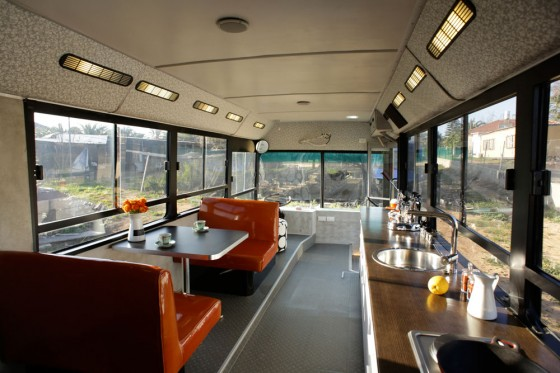 adaptive reuse, Dan bus conversion, israeli bus conversion, sustainable design, recycled materials,