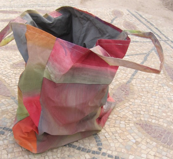 Safi painted bag with mud dyed lining, Jean Bradbury in Safi, Dead Sea jordan