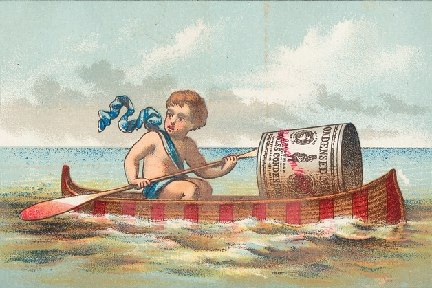illustration of boy in canoe with canned soup