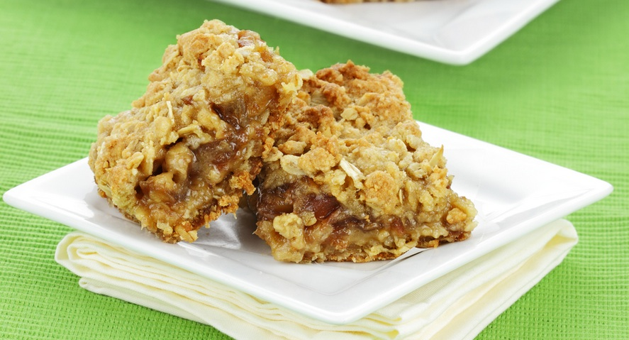 no bake date squares on plate with napkin recipe